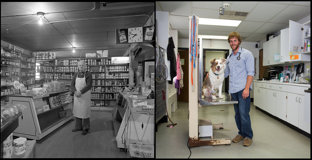 Herman Weber's market was on the corner of Wisconsin and Forest Hill avenues in Peoria. Today, Addison Demanes, posing with Millie, and his father Scott run Demanes Animal Hospital on the site.