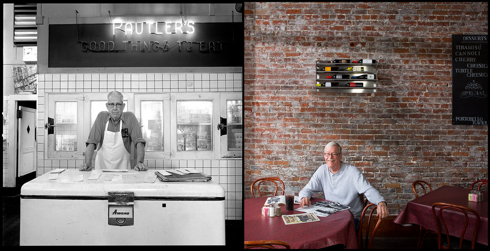 Norbert Pautler at Pautler's Red & White grocery in Murphysboro, Ill., 1982. His nephew, Mark Pautler, was photographed in the same space. It now is Cummare's Italian Restaurant, a popular spot for lunch and dinner across the street from the Jackson County courthouse.