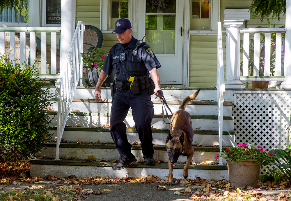 A Springfield Police Officer leads a dog down the steps of a home in the 1200 block of West Edwards after the Illinois Secretary of State Bomb Squad removed a suspicious device from the front steps Saturday, Oct. 15, 2016. Ted Schurter/The State Journal-Register