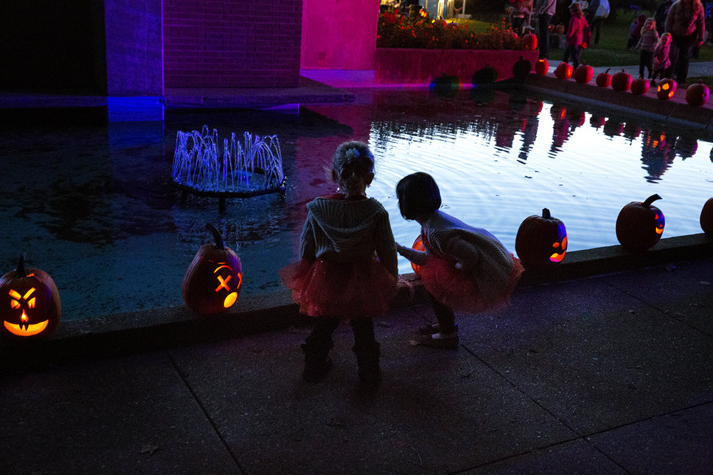 Rosalie, left, and Addalyn Truter examine one of the carved pumpkins lining the basin at the Rees Memorial Carillon Friday, Oct. 14, 2016 at the the Jack-O-Lantern Spectacular in Washington Park. More than 2000 candle-lit jack-o-lanterns were displayed around the botanical garden.The event continues again this evening 6:30 PM - 9:30 PM. Rich Saal/The State Journal-Register
