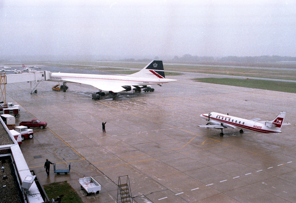 A British Airways' Concorde sits at gate before departure at Capital Airport Oct. 18, 1989. Rich Saal/The State Journal-Register