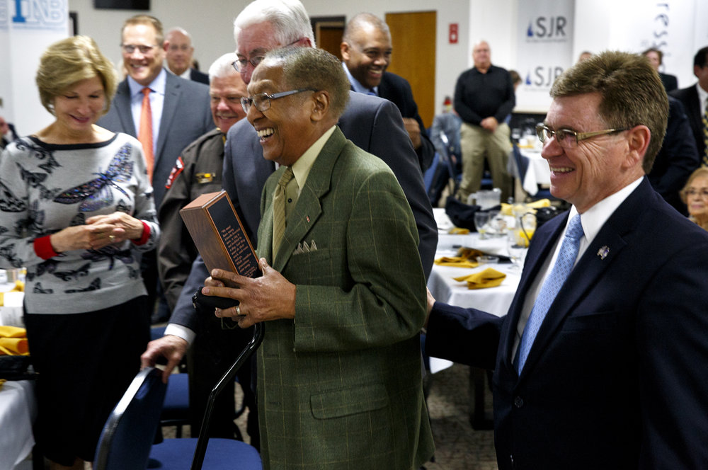 Dr. James Forstall was named the 2016 First Citizen Thursday, Oct. 27, 2016 during a breakfast ceremony at The State Journal-Register. He was escorted to the stage by former Gov. Jim Edgar and Mayor Jim Langfleder. Rich Saal/The State Journal-Register