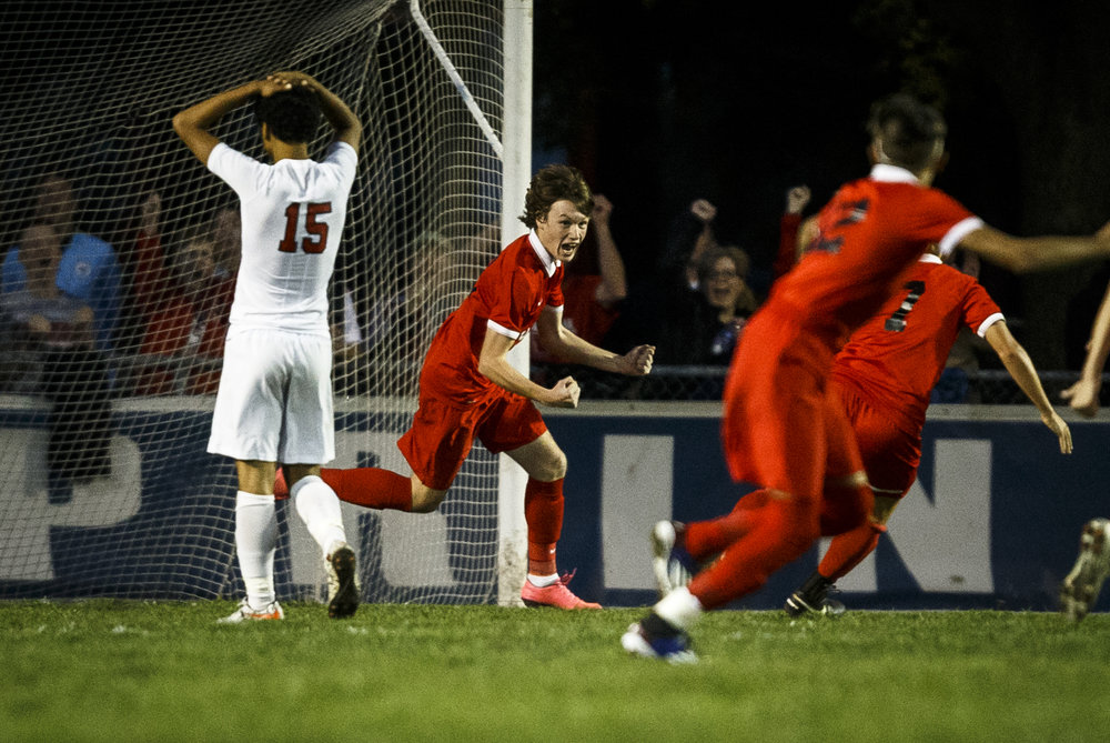 Jacksonville's Jack Racey (13) celebrates his goal that tied the game 2-2 against Springfield in the second half during the IHSA Class 2A Springfield Supersectional at the University of Illinois Springfield, Tuesday, Nov. 1, 2016, in Springfield, Ill. Justin L. Fowler/The State Journal-Register