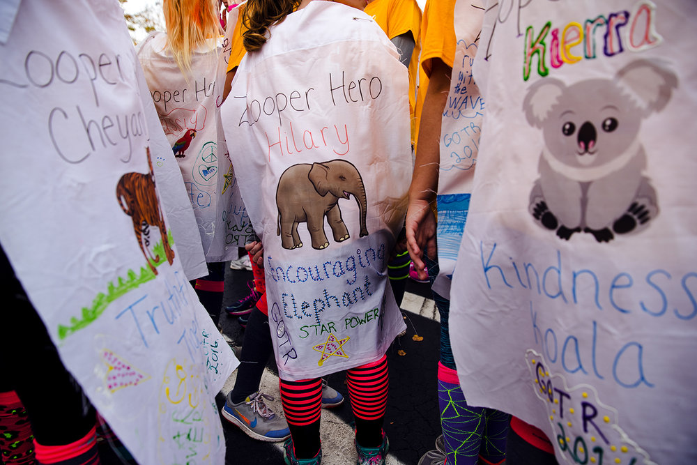 "The Zooper Heroes from Tri-City decorated their capes with different animals and positive themes for the Girls on the Run ""Be Your Own Super Hero"" 5k on the campus of Lincoln Land Community College Saturday, Nov. 5, 2016. The run is the culmination of a 10-week program which focuses on teaching self-respect and healthy lifestyle choices. Ted Schurter/The State Journal-Register"