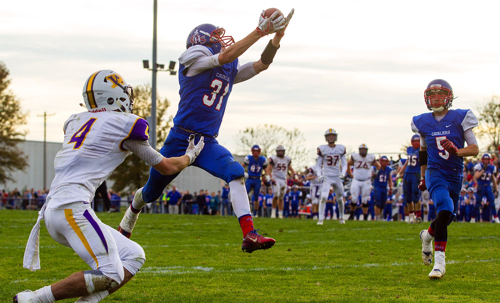 Carlinville's  Kyle Dixon intercepts a pass in the endzone against Williamsville during the class 3A football playoffs at Carlinville High School Saturday, Nov. 5, 2016. Ted Schurter/The State Journal-Register