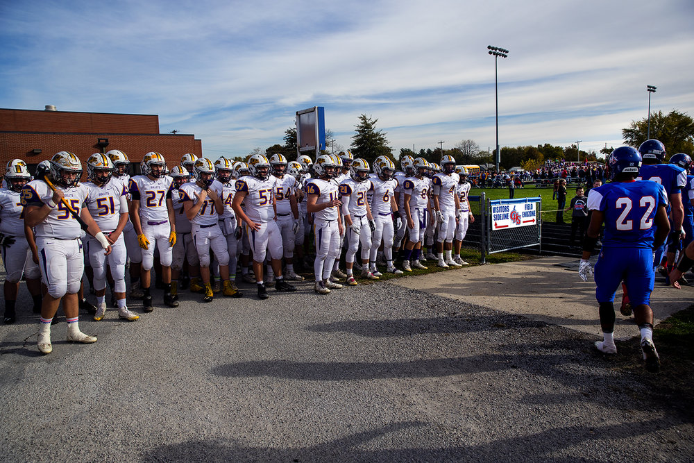 The Williamsville's Bullets watch as Carlinville takes the field before the class 3A football playoffs at Carlinville High School Saturday, Nov. 5, 2016. Ted Schurter/The State Journal-Register