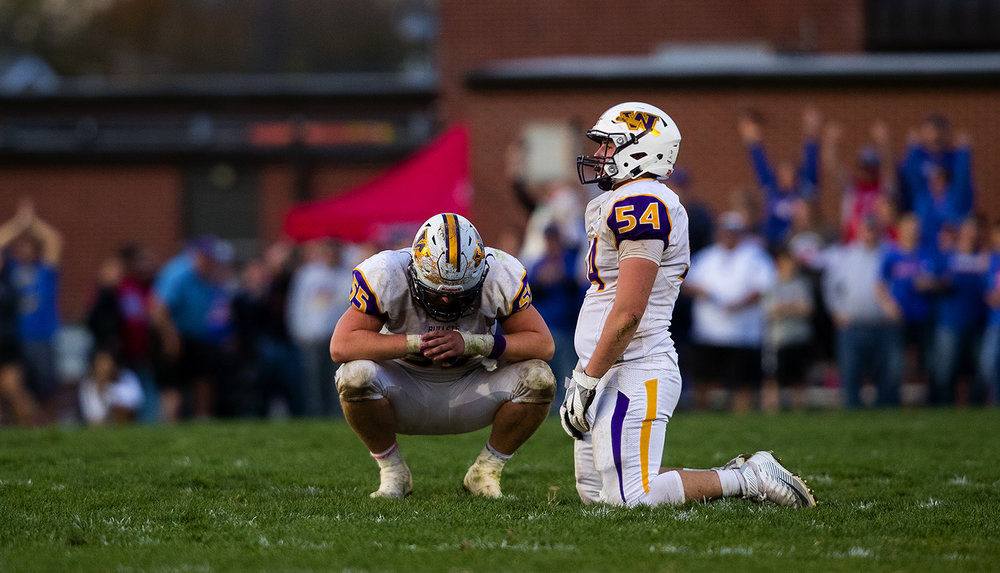 Williamsville's Kayden Wright, left, and Bradley Olysav react after losing to Carlinville during the class 3A football playoffs at Carlinville High School Saturday, Nov. 5, 2016. Ted Schurter/The State Journal-Register
