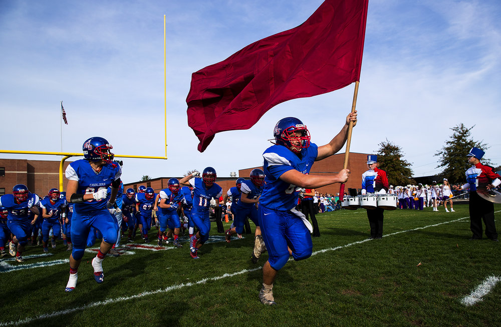 Carlinville takes the field against Williamsville during the class 3A football playoffs at Carlinville High School Saturday, Nov. 5, 2016. Ted Schurter/The State Journal-Register