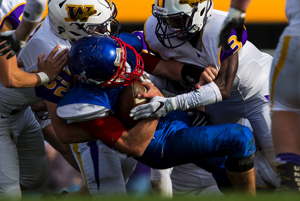 Williamsville can't keep Carlinville's Jacob Dixon out of the endzone for a touchdown during the class 3A football playoffs at Carlinville High School Saturday, Nov. 5, 2016. Ted Schurter/The State Journal-Register