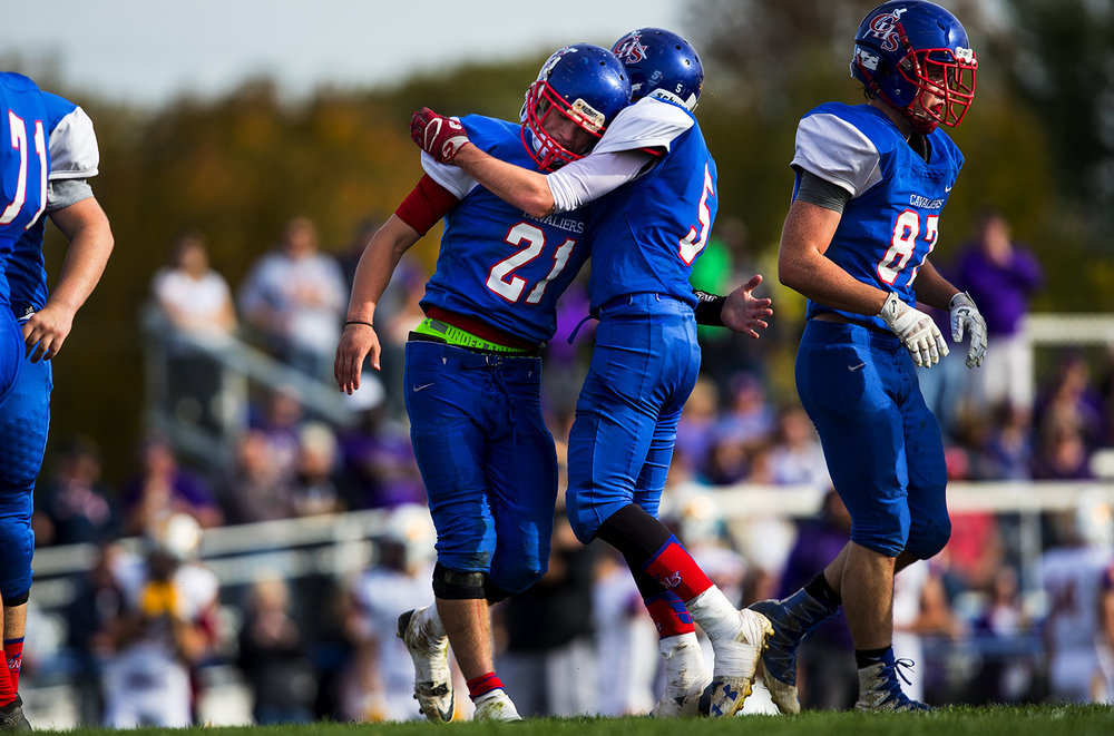 Carlinville's Jacob Dixon celebrates his touchdown against Williamsville during the class 3A football playoffs at Carlinville High School Saturday, Nov. 5, 2016. Ted Schurter/The State Journal-Register