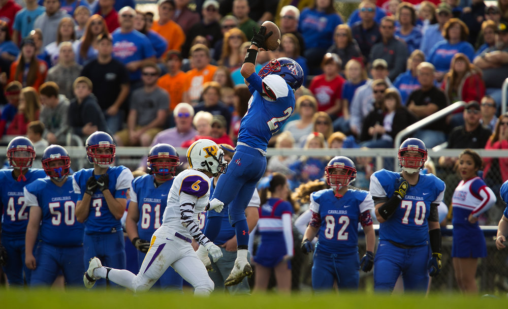 Carlinville's Blake Richardson leaps for an incomplete pass in front of Williamsville's Williamsville's during the class 3A football playoffs at Carlinville High School Saturday, Nov. 5, 2016. Ted Schurter/The State Journal-Register