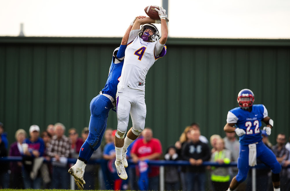 Williamsville's Joseph Mitchell leaps to make a touchdown catch against Carlinville during the class 3A football playoffs at Carlinville High School Saturday, Nov. 5, 2016. Ted Schurter/The State Journal-Register