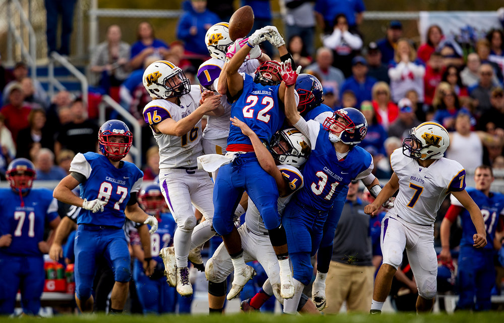 A swarm of Williamsville and Carlinville players collide as they try to recover an onsides kick during the class 3A football playoffs at Carlinville High School Saturday, Nov. 5, 2016. Ted Schurter/The State Journal-Register