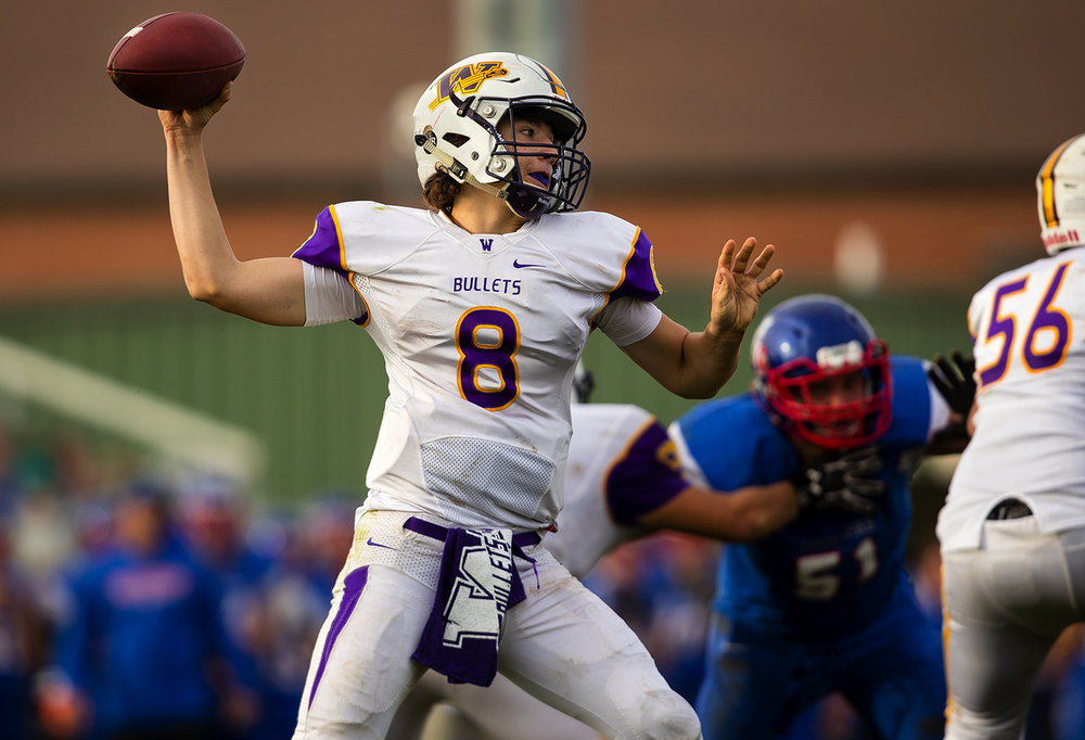 Williamsville's Justice Ferrier throws a pass against Carlinville during the class 3A football playoffs at Carlinville High School Saturday, Nov. 5, 2016. Ted Schurter/The State Journal-Register