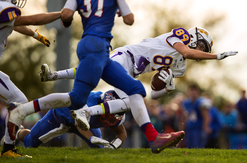 Williamsville's Michael Keller dives forward as he rushes against Carlinville during the class 3A football playoffs at Carlinville High School Saturday, Nov. 5, 2016. Ted Schurter/The State Journal-Register