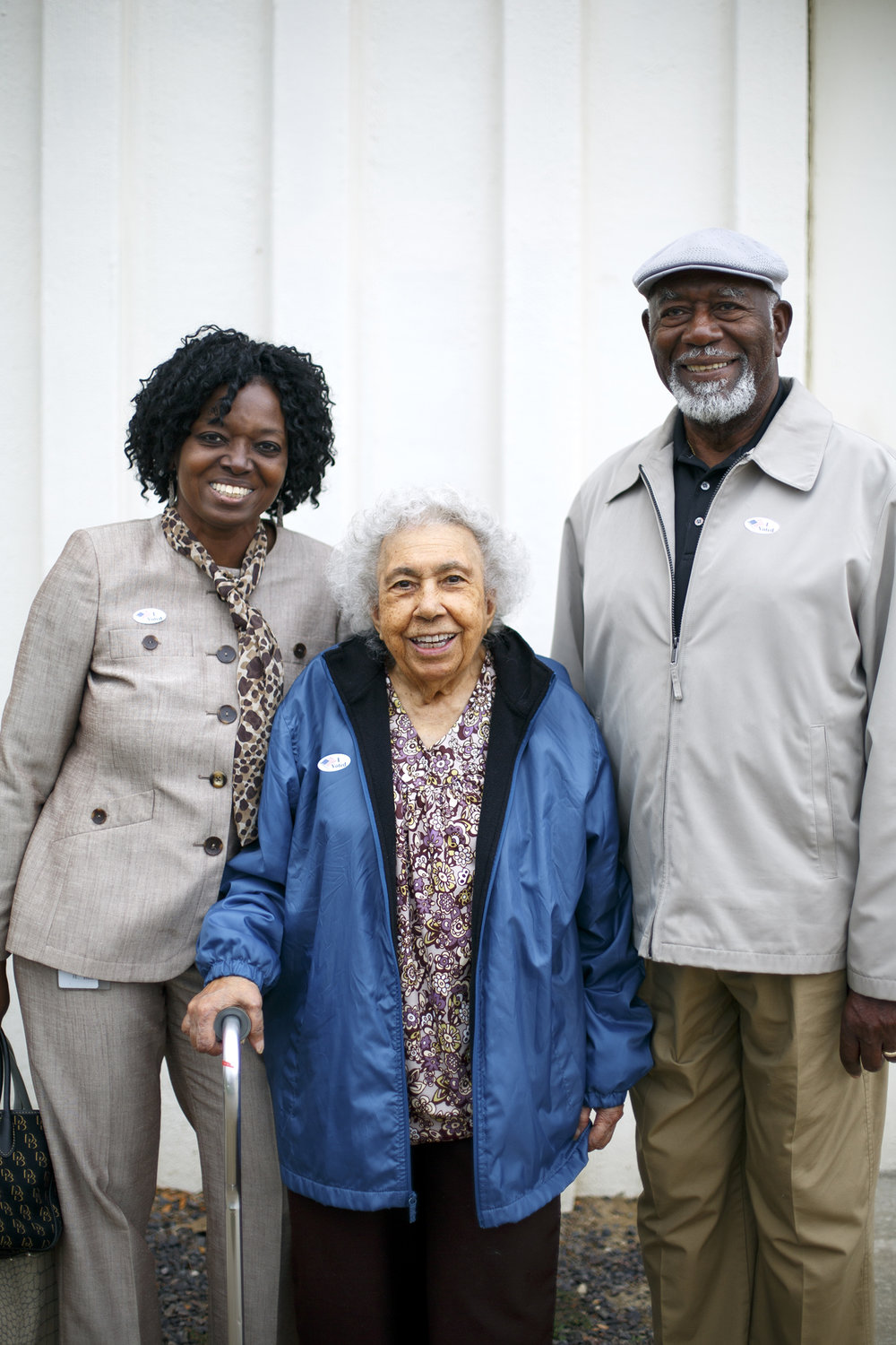 Tina Lathan, left, and her parents Dorothy and James Nixon, 2:43 p.m., Eisenhower Pool