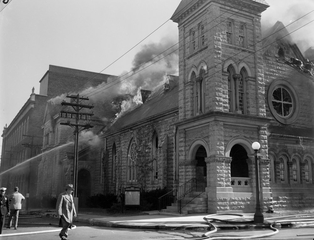 First Congregational Church fire, Nov. 12, 1956. File/The State Journal-Register