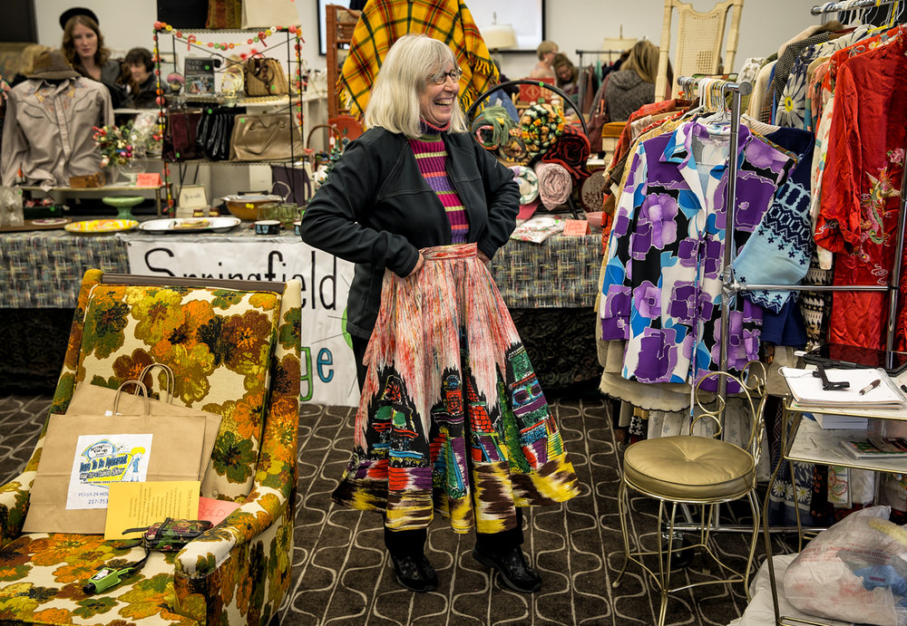 Chris Lemke, of Jacksonville, Ill., tries on a vintage Mexican circle skirt on sale from Springfield Vintage during the 2nd Annual the Dare to Be Different Vintage Fair and Fashion Show hosted by Springfield Vintage, Lewis Memorial Christian Village and the Prairie Center Against Sexual Assault at the State House Inn, Saturday, Nov. 12, 2016, in Springfield, Ill. Justin L. Fowler/The State Journal-Register