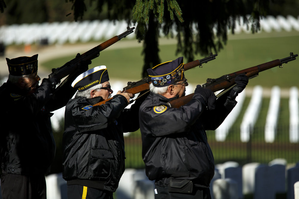Members of the Inter-Veterans Burial Detail of Sangamon County fire a salute during the annual Veterans Day ceremony at Camp Butler National Cemetery Friday, Nov. 11, 2016. Rich Saal/The State Journal-Register