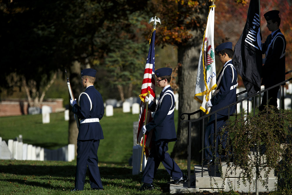 The Civil Air Patrol Color Guard retire the colors at the Veterans Day ceremony at Camp Butler National Cemetery Friday, Nov. 11, 2016. Rich Saal/The State Journal-Register