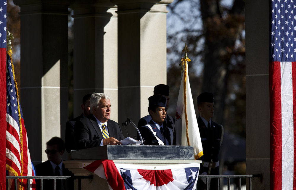 Tony Libri, a Marine Corp and Army veteran and former Sangamon County Circuit Clerk, delivered the keynote address for the Veterans Day ceremony at Camp Butler National Cemetery Friday, Nov. 11, 2016. Rich Saal/The State Journal-Register