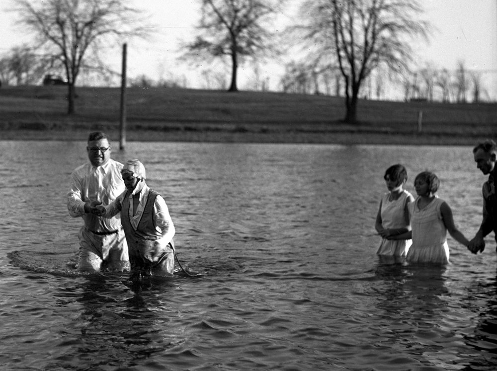 Baptism by Rev. Frosty Foster, Bunn Park pond. Illinois State Journal/Register glass plate negative/Sangamon Valley Collection at Lincoln Library  C-98-187    neg# 789  VF 2001-195   1/2   Pub. ISJ Nov. 24, 1930, pg. 1.   1/2
