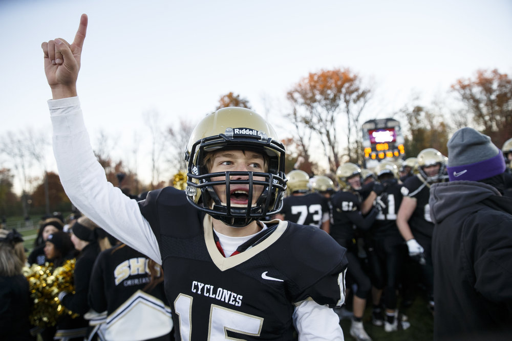 Sacred Heart-Griffin quarterback Tim Brenneisen (15) celebrates after the Cyclones defeated Burbank St. Laurence 28-16 in the IHSA Class 6A semifinals at the SHG Sports Complex, Saturday, Nov. 19, 2016, in Springfield, Ill. Justin L. Fowler/The State Journal-Register