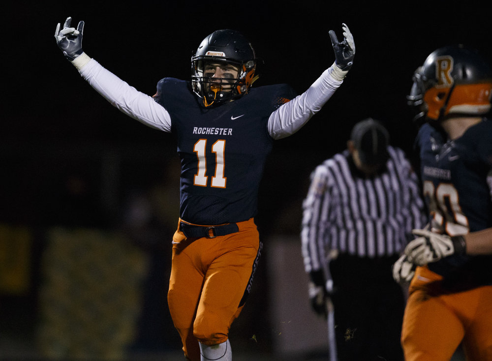 Rochester's Skylor Caruso (11) celebrates after the Rockets recovered a fumble against Canton in the first half during the IHSA Class 4A semifinals at the Rocket Booster Stadium, Saturday, Nov. 19, 2016, in Rochester, Ill. Justin L. Fowler/The State Journal-Register