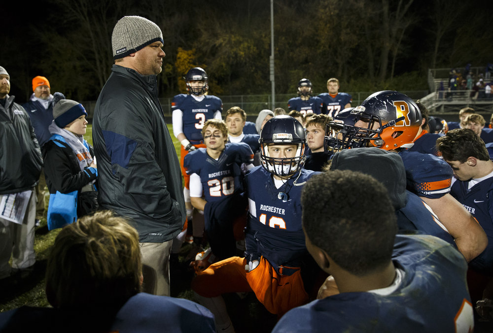 Rochester head coach Derek Leonard talks to his team after the Rockets defeated Canton 49-21 in the IHSA Class 4A semifinals at the Rocket Booster Stadium, Saturday, Nov. 19, 2016, in Rochester, Ill. Justin L. Fowler/The State Journal-Register
