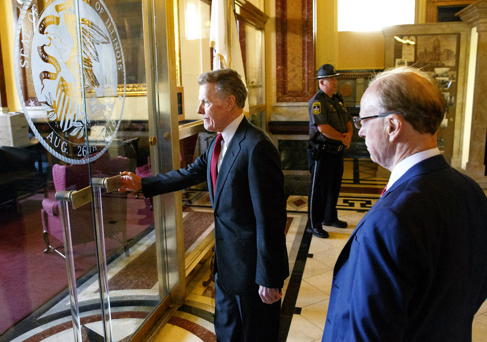 House Speaker Michael Madigan arrives at the governor's office in the Capitol for a  meeting with the other legislative leaders and Gov. Bruce Rauner Tuesday, Nov. 15, 2016. Rich Saal/The State Journal-Register