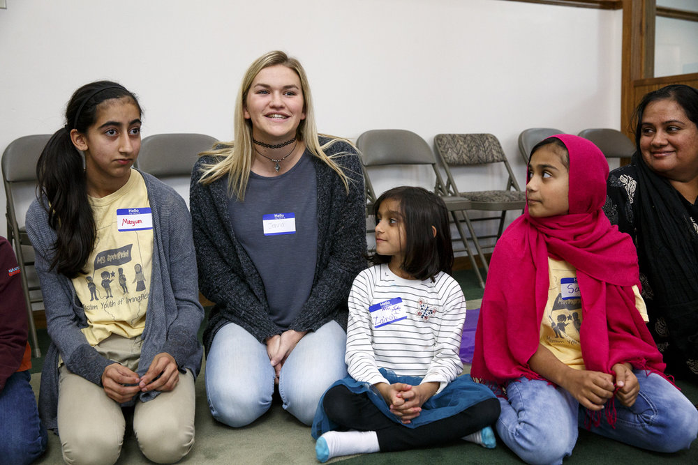 Jenna Milward, center, introduces herself during the Children of Abraham program at the Islamic Society of Greater Springfield mosque Wednesday, Nov. 16, 2016. The gatherings bring together kids from different faiths to build bridges and friendships at a young age. Rich Saal/The State Journal-Register