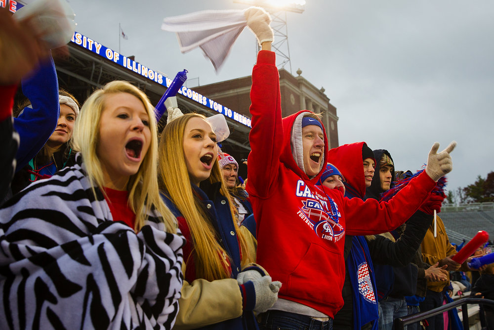 Carlinville student Zach Nance cheers as the Cavies prepare to take the field against Elmhurst during the Class 3A championship game at Memorial Stadium in Champaign, Ill., Friday, Nov. 25, 2016. Ted Schurter/The State Journal-Register