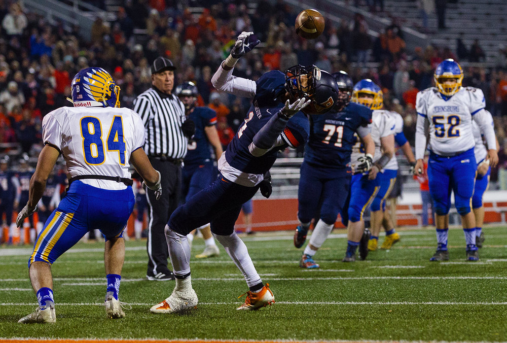 Rochester's D'Ante Cox intercepts a pass intended for Johnsburg's Nico LoDolce near the endzone at the end of the first half during the Class 4A championship game at Memorial Stadium in Champaign, Ill., Friday, Nov. 25, 2016.  Ted Schurter/The State Journal-Register