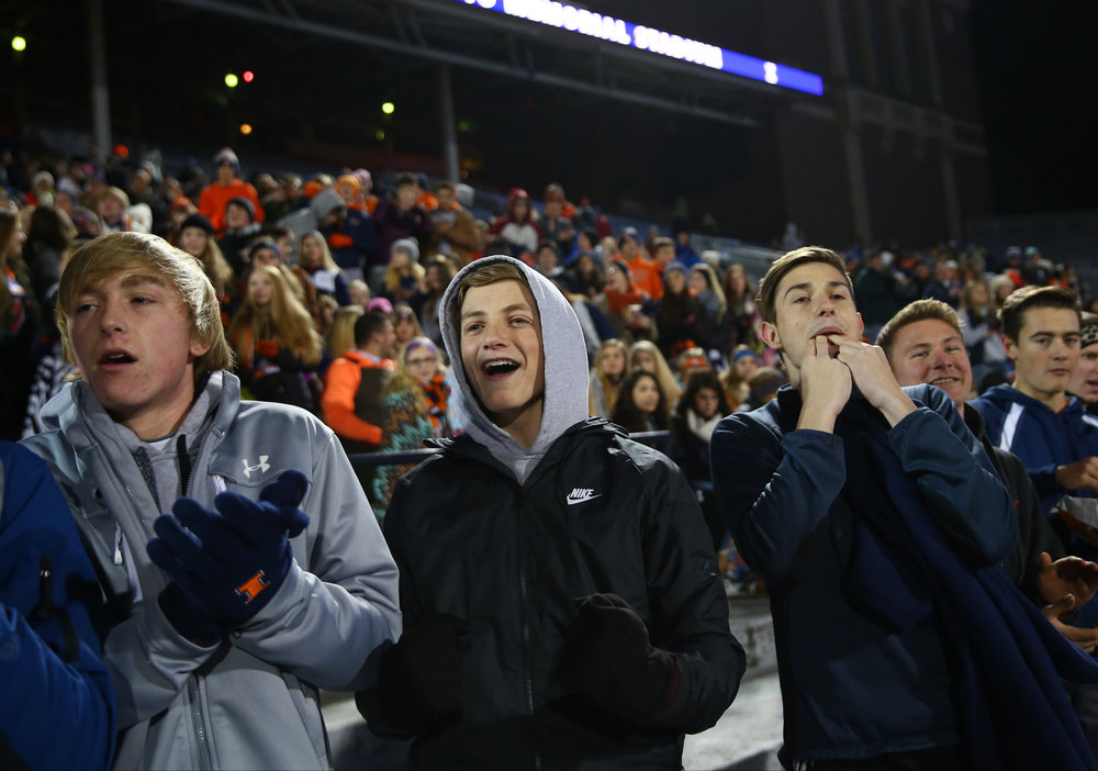 Rochester fans cheer on the Rockets as they take on Johnsburg in the first quarter during the IHSA Class 4A State Championship at Memorial Stadium, Friday, Nov. 25, 2016, in Champaign, Ill. Justin L. Fowler/The State Journal-Register
