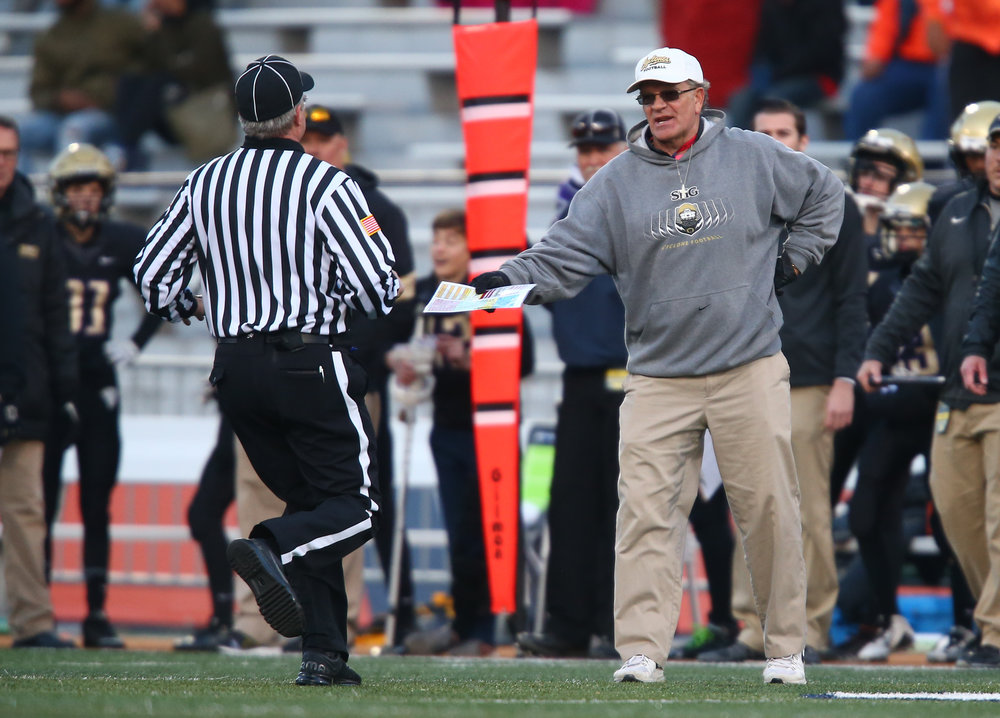 Sacred Heart-Griffin football head coach Ken Leonard argues a call against the Cyclones as they take on Crystal Lake Prairie Ridge in the second half during the IHSA Class 6A State Championship at Memorial Stadium, Saturday, Nov. 26, 2016, in Champaign, Ill. Justin L. Fowler/The State Journal-Register