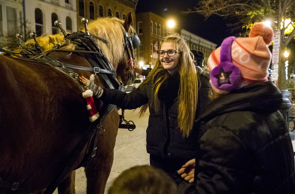Morgan Sikora pats one of two Belgian Draft horses from Red Gate Farm after getting a ride in the horse drawn wagon during the 2016 Downtown Holiday Walk Wednesday, Nov. 30, 2016. The Holiday walks continue each Saturday and Wednesday through Wednesday, Dec. 21, 2016. Ted Schurter/The State Journal-Register
