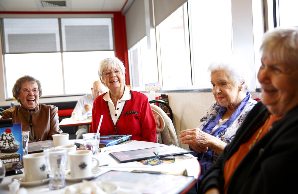 There's always plenty to talk about when five women who have been friends since grade school get together for lunch. From left, Charlene Smith, Betty Bordan, Gloria Shoults and Mary Wilcockson catch up over lunch Wednesday, Nov. 30, 2016 at Steak 'n Shake on N. Dirksen Parkway. Esther Harris was also at the table. Rich Saal/The State Journal-Register