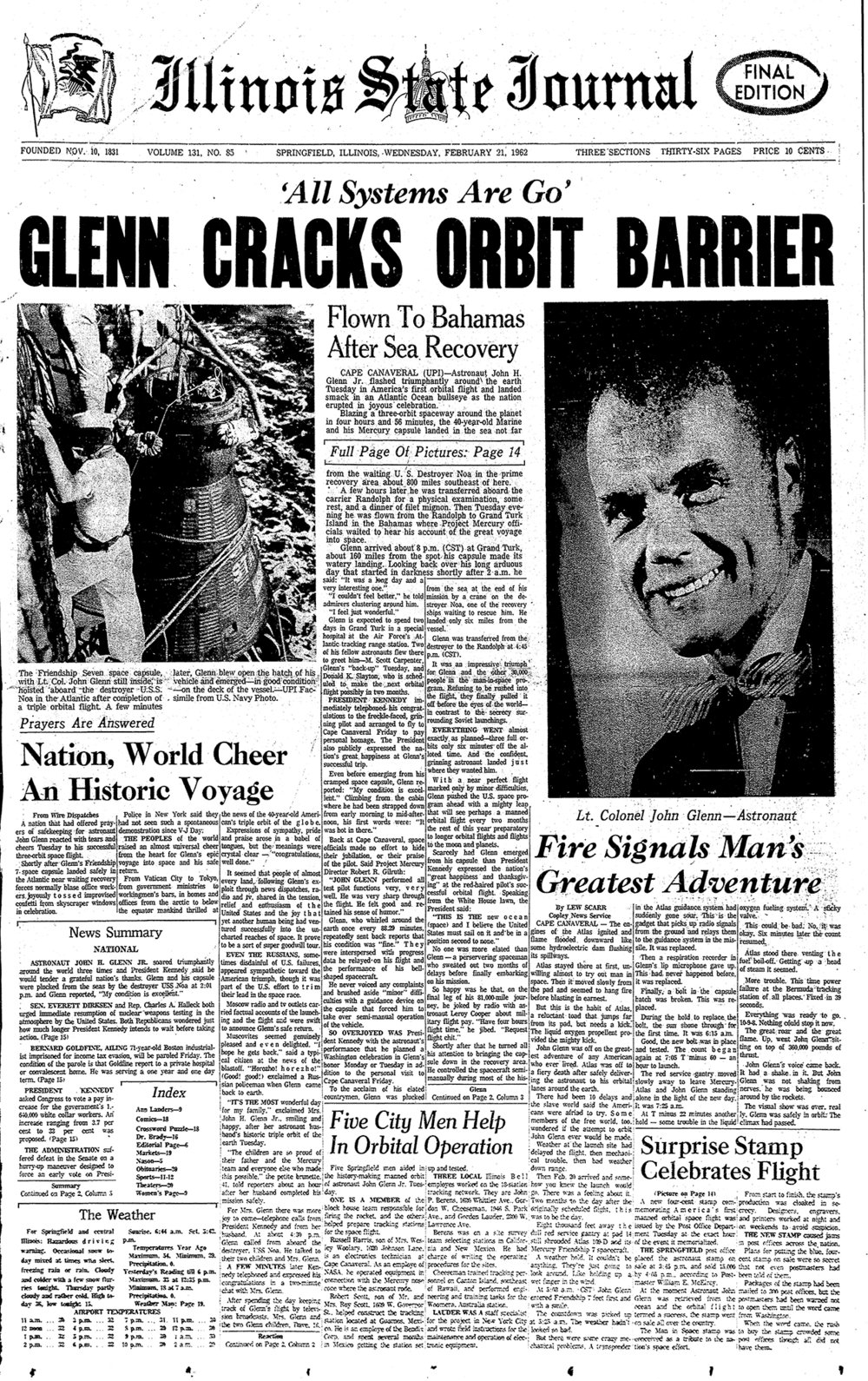 Sen. John Glenn orbits earth, Illinois State Journal front page Feb. 21, 1962