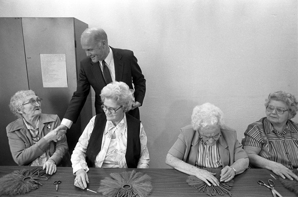 Sen. John Glenn campaigns for the Democratic presidential nomination Dec. 9, 1983 at Pope John Paul Apartments in Springfield. File/Barry Locher/The State Journal-Register