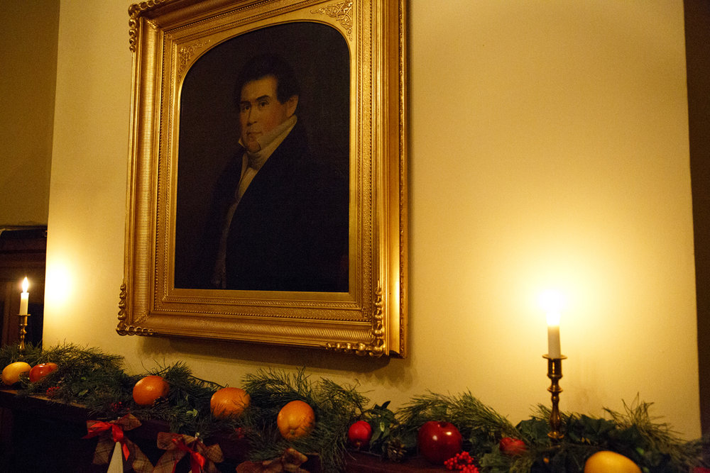 A portrait of Robert Irwin hangs in one of the rooms at the Elijah Iles House during the annual candlelight tour of the historic home Friday, Dec. 9, 2016. Irwin was the second owner of the home who purchased it from Iles in 1841.The house is the oldest in Springfield and is decorated in the style of Christmas during different times in the 19th and 20th centuries.  The candlelight tours return Feb. 16 and 17 from 5-8 p.m. Rich Saal/The State Journal-Register