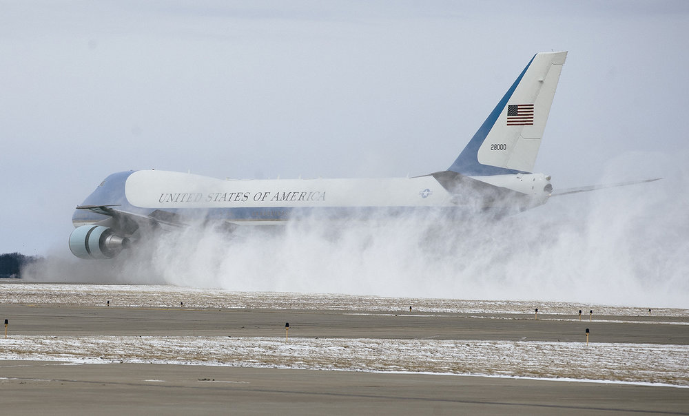 Air Force One kicks up a cloud of snow after landing at Abraham Lincoln Capital Airport, Wednesday, Feb. 10, 2016. President Obama returned to Springfield on the ninth anniversary of his candidacy announcement to deliver a speech at the Illinois State Capitol calling for a new, better form of politics.  Justin L. Fowler/The State Journal-Register