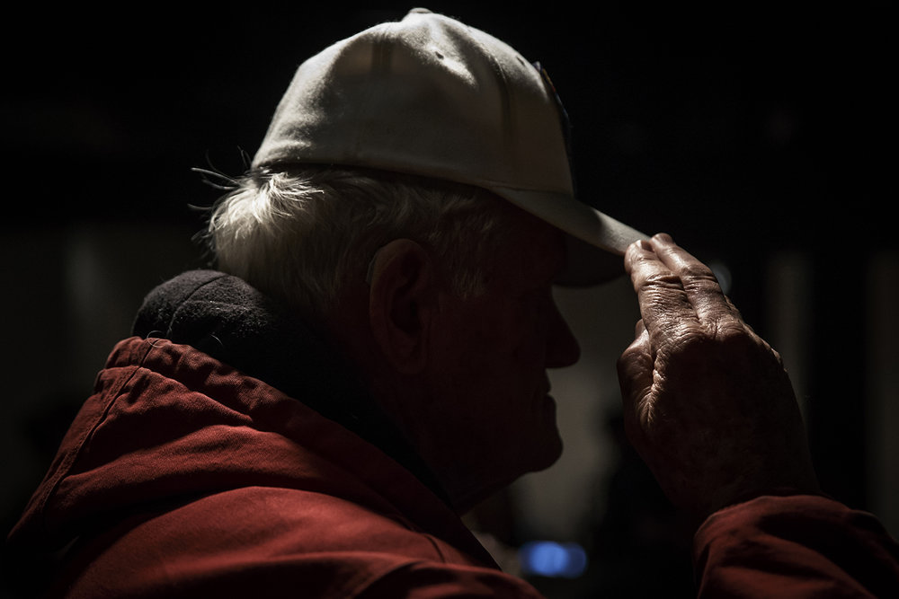 John Benedict, an Army Veteran, salutes during the playing of Taps by the 144th Illinois Army National Guard Band during the 25th annual Desert Storm Remembrance Ceremony hosted by the Illinois Department of Veterans Affairs at the Illinois Military Museum, Sunday, Feb. 28, 2016. The day marked the 25th anniversary of the cease fire for Operation Desert Storm.  Justin L. Fowler/The State Journal-Register