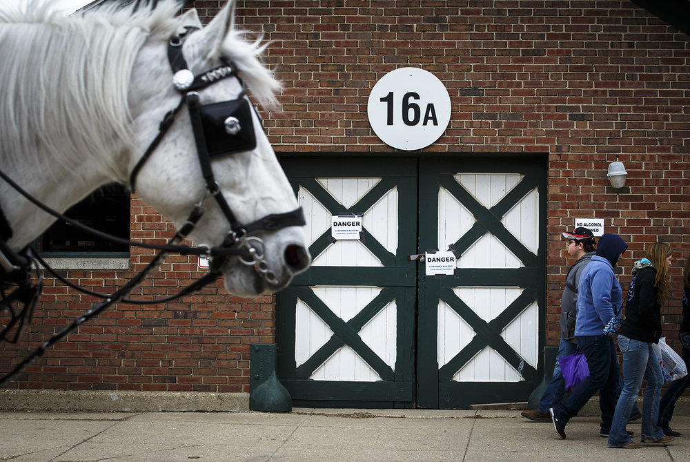 Patrons and horses make their way down Central Avenue in front of building 16A, which has signs stating the building was condemned, during the Illinois Horse Fair at the Illinois State Fairgrounds, Saturday, March 5, 2016.  Justin L. Fowler/The State Journal-Register