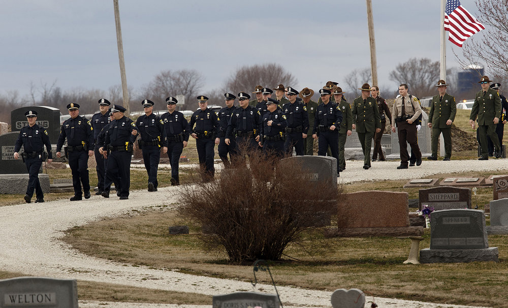 Police officers from around central Illinois gathered for South Jacksonville Police Officer Francis Scot Fitzgerald's funeral at the Murrayville Village Cemetery Wednesday, March 9, 2016. Officer Fitzgerald was killed in a car accident while on duty.  Ted Schurter/The State Journal-Register