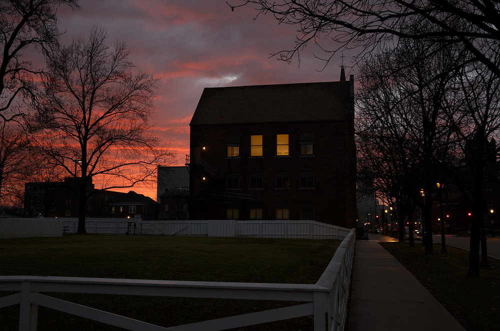The lights are on at Grace Lutheran Church at Seventh Street and Capitol Avenue as the sun sets behind it Tuesday, Feb. 2, 2016.  Rich Saal/The State Journal-Register