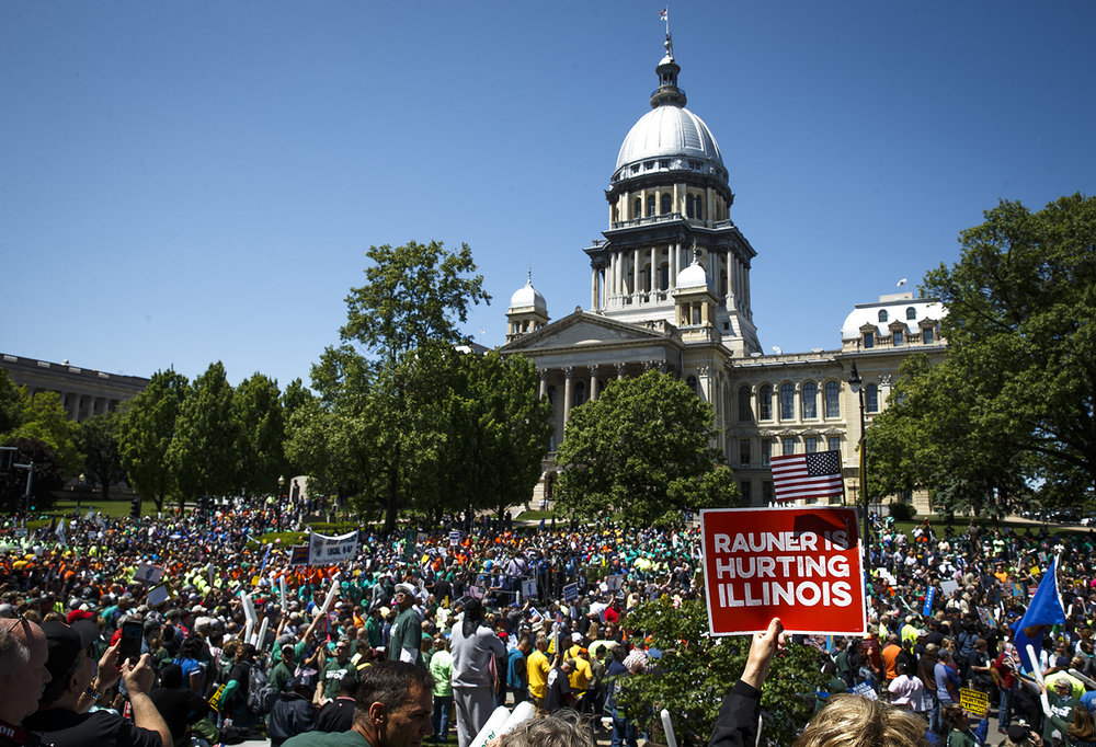 "An estimated crowd of over 8,000 people from a coalition of union organizations fill Second Street in front of the Capitol during the ""Rauner is Hurting Illinois"" rally to protest Gov. Bruce Rauner's turnaround agenda and policies Wednesday, May 18, 2016.  Justin L. Fowler/The State Journal-Register"
