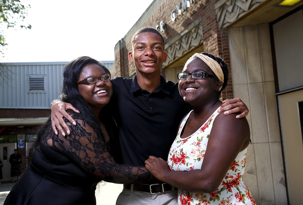 Kanicia Green, left, Eric Mason, both seniors at Lanphier High School, and Alexa Brown from Southeast, went through a lot growing up, including homelessness, but the friends since middle school have bright futures. Green is headed to Howard University, Mason is going to Stanford and Brown will attend Harvard. The three were photographed at Lanphier High School Thursday, May 20, 2016.  Rich Saal/The State Journal-Register