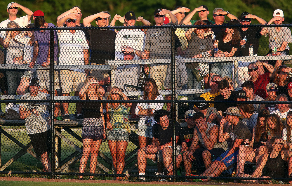 Baseball fans watch the Class 3A Springfield Sectional at Lincoln Land Community College's Claude Kracik Field where Champaign Centennial defeated Sacred Heart Griffin Thursday, June 2, 2016.  David Spencer/The State Journal-Register