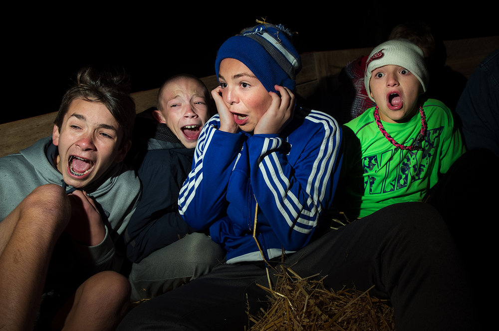 Damian Marcum, left, Ethan Alexander, Chase McNeil and Cade McNeill scream in unison during the Carter Brothers Haunted Hayride Friday, Oct. 21, 2016.  Ted Schurter/The State Journal-Register