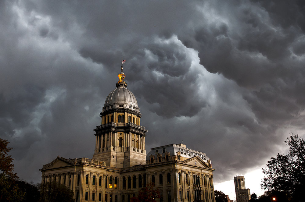 The leading edge of a strong line of storms blows over the Capitol Wednesday, Nov. 2, 2016.  Justin L. Fowler/The State Journal-Register